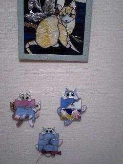 白い雲 猫時計