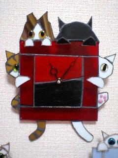 赤 猫時計 製作中