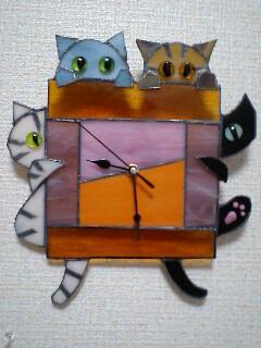 ぽかぽか猫時計 と 赤 猫時計 できた