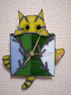タイガース 猫時計