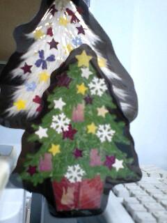 押し花クリスマスツリー